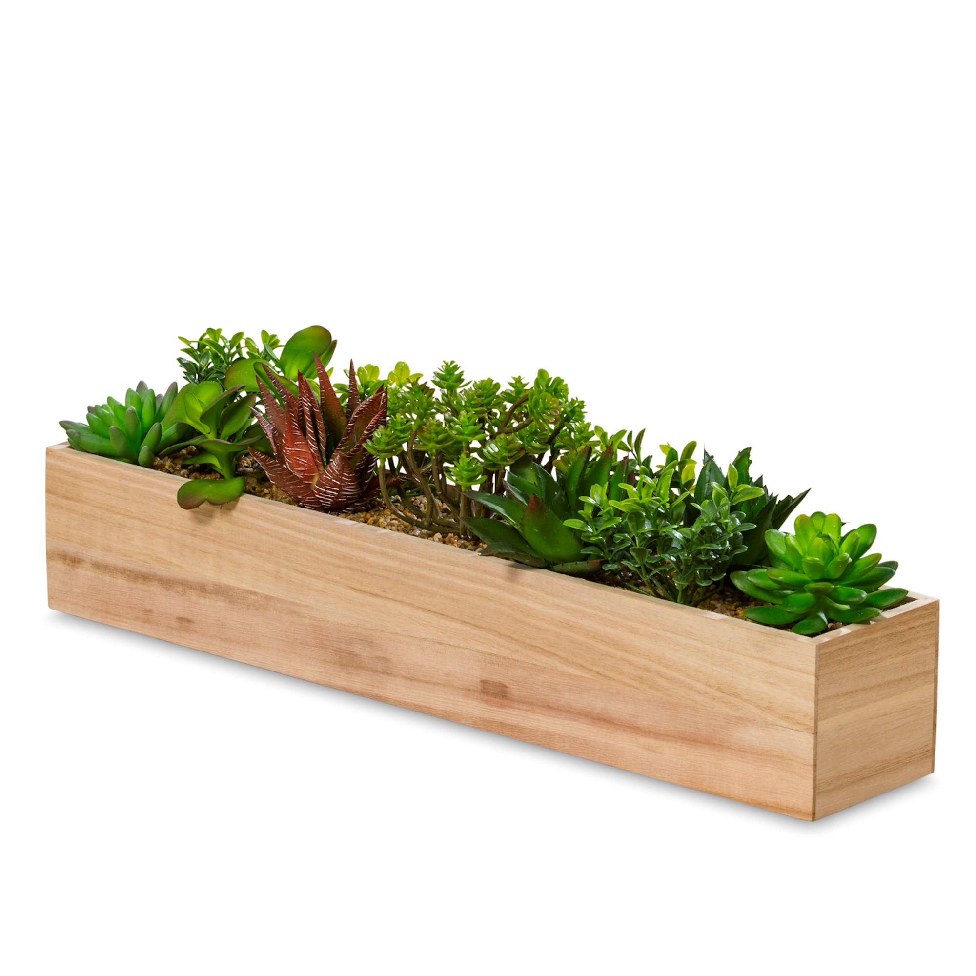 Naturally Modern Faux Succulent Table Top Box, Assorted Handmade Plants, Rectangular Wood Terrarium Arrangement, 20 1/2 Inches Long, Centerpiece or Window, Pebble Liner, Plastic, By WHW
