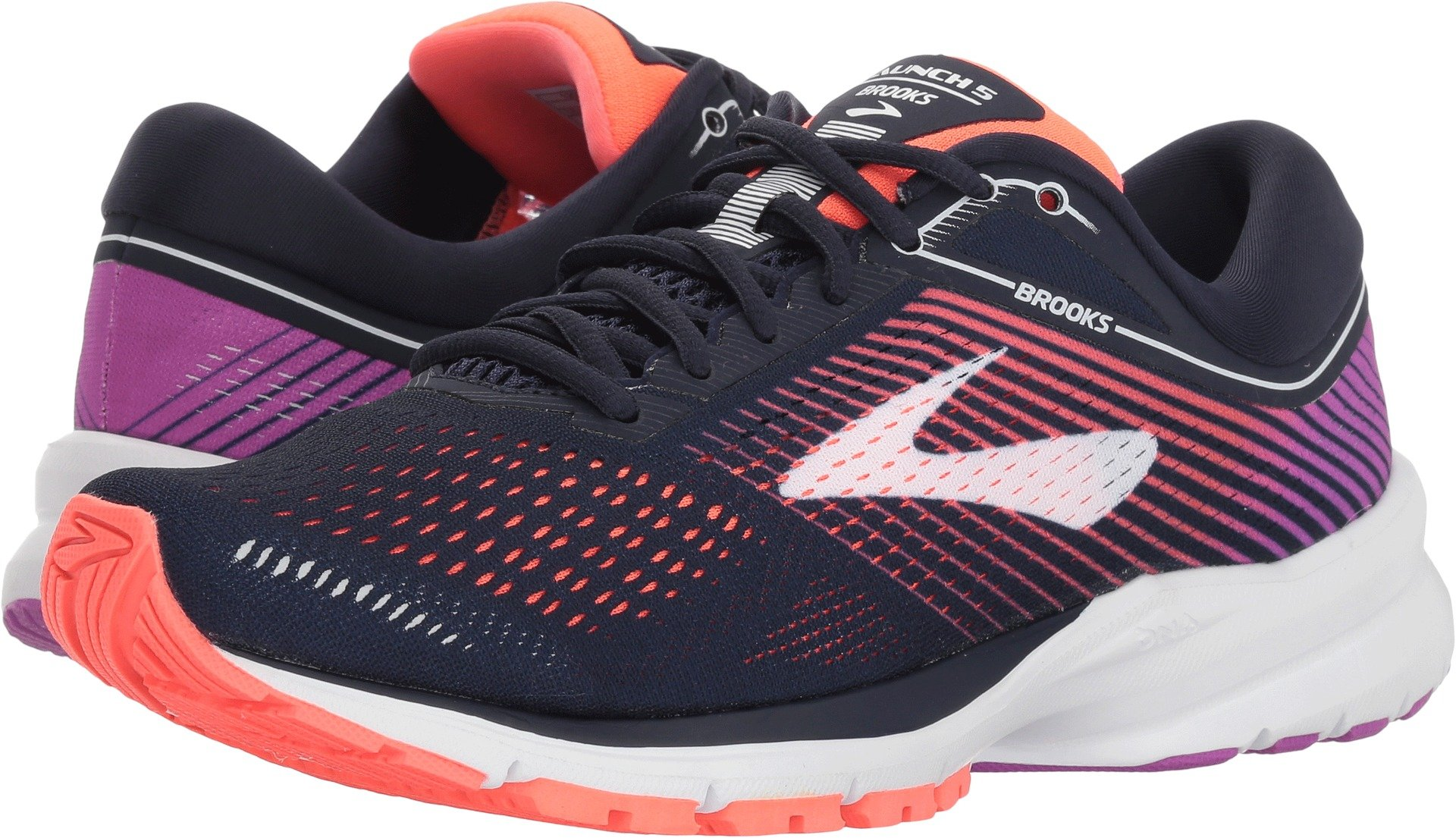 Brooks Women's Launch 5 Navy/Coral/Purple 9.5 B US by Brooks (Image #1)