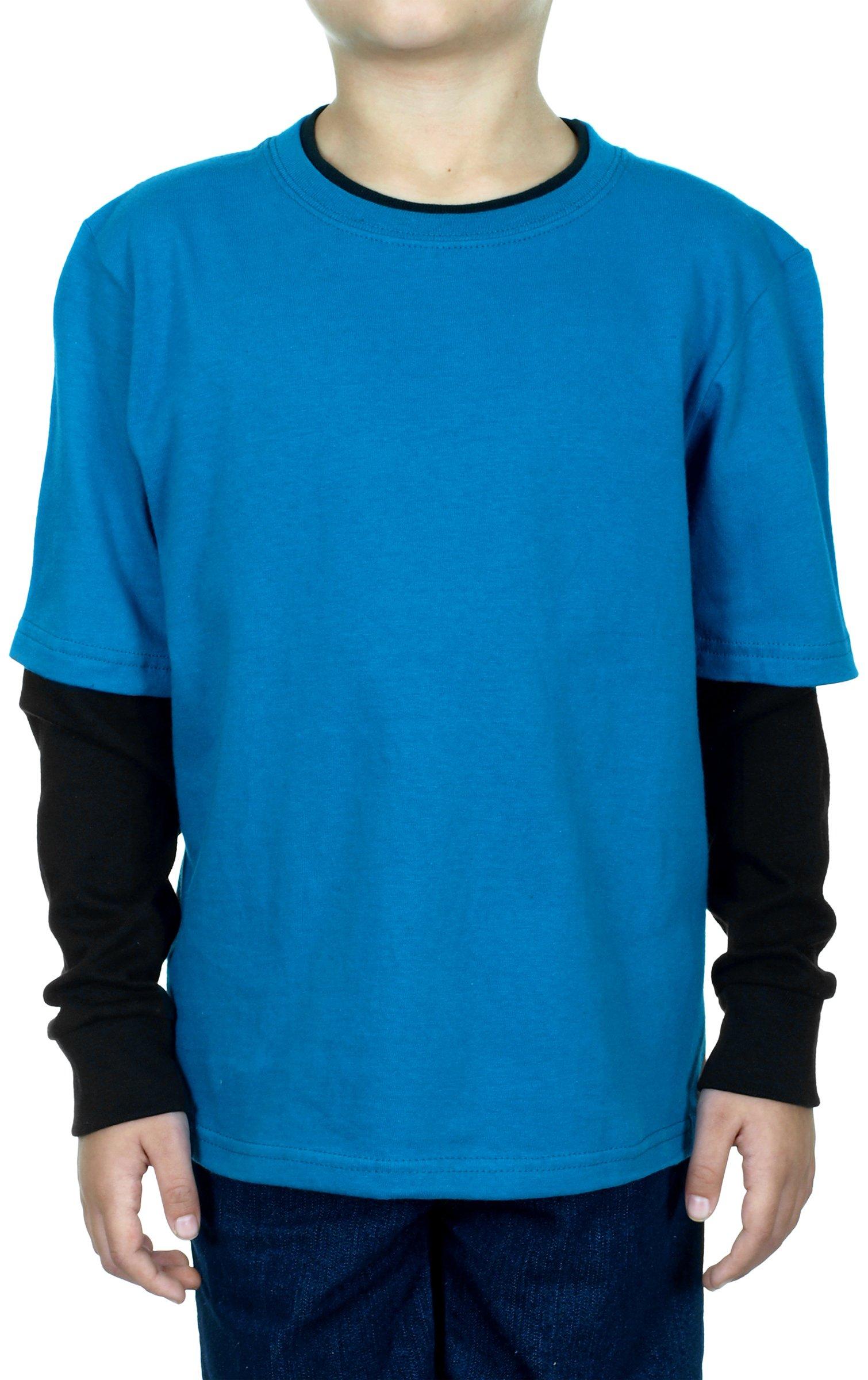 Layered Boy's Long Sleeve T-Shirt Two-Fer Shirt Teal & Black(7X, Teal & Black)