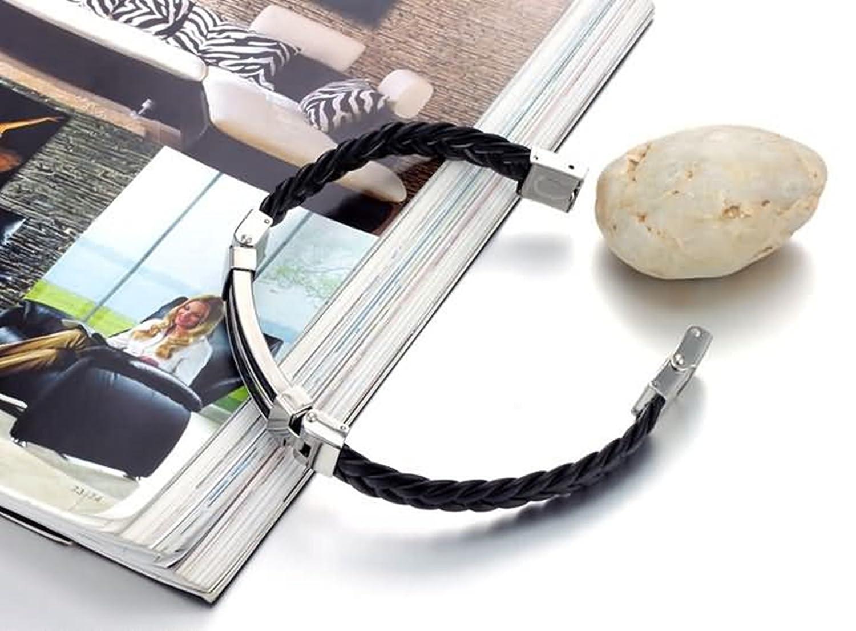 Beydodo Homme Bracelet en Cuir V/éritable avec Boucle Noir rectangulaire en Acier Inoxydable Bracelet en Cuir Bracelets Partner Longueur 230/mm