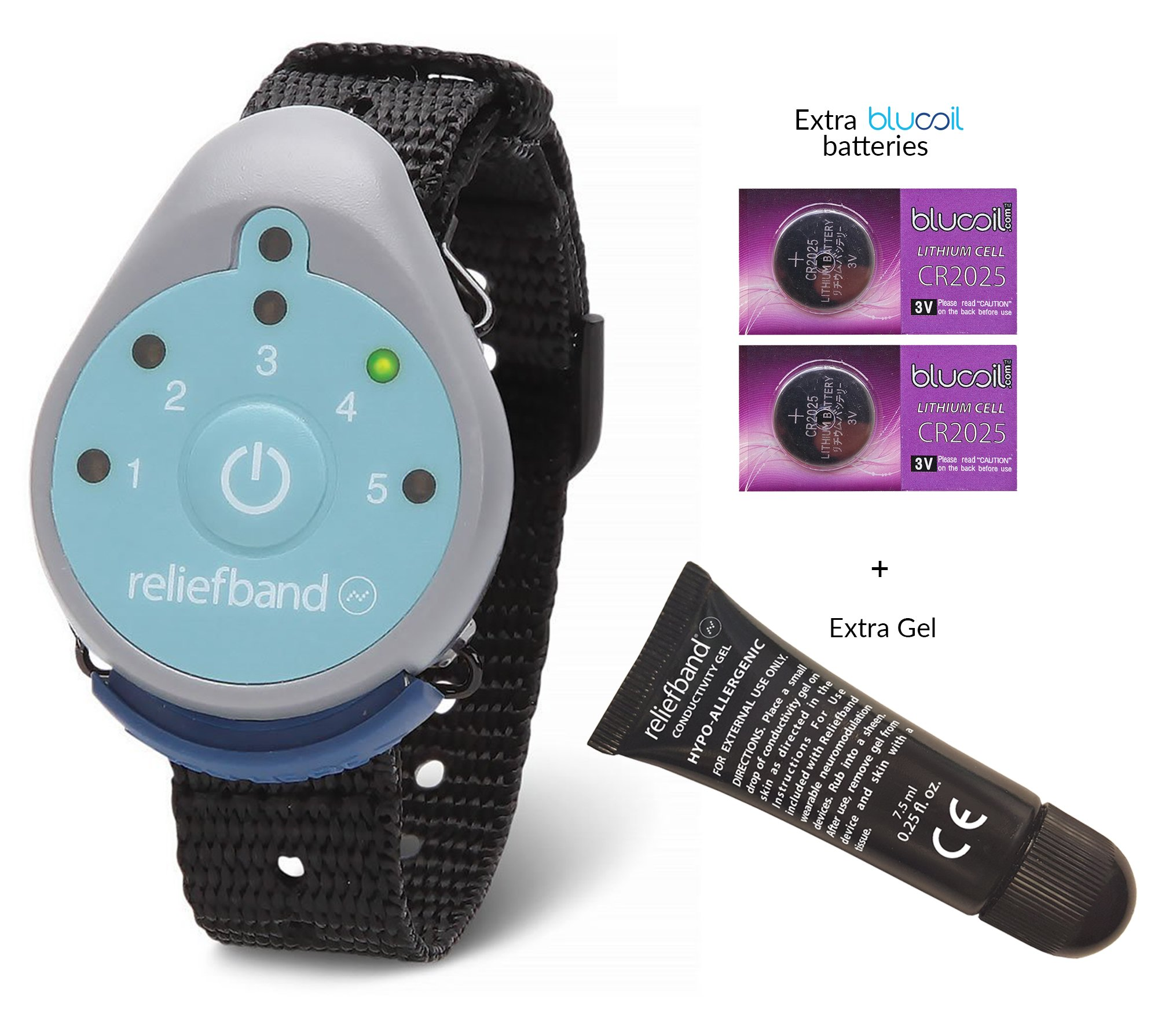 Reliefband for Motion and Morning Sickness BUNDLE - INCLUDES - 2 Blucoil CR2025 Batteries AND Replacement Conductivity Gel Tube 7.5ml