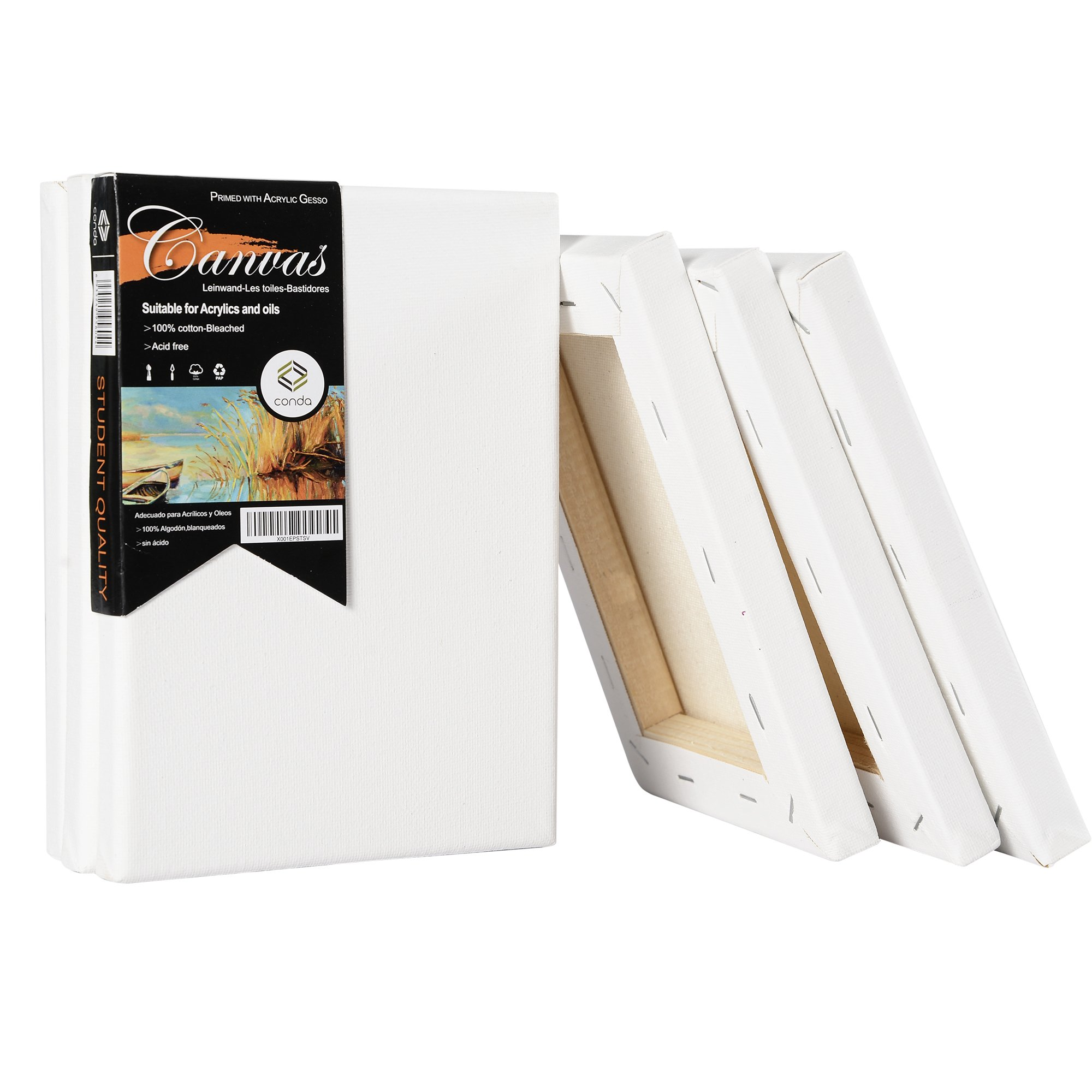 CONDA Artist Stretched Canvas 5'' x 7'' 6 Pack Professional Quality Frame Canvas by CONDA