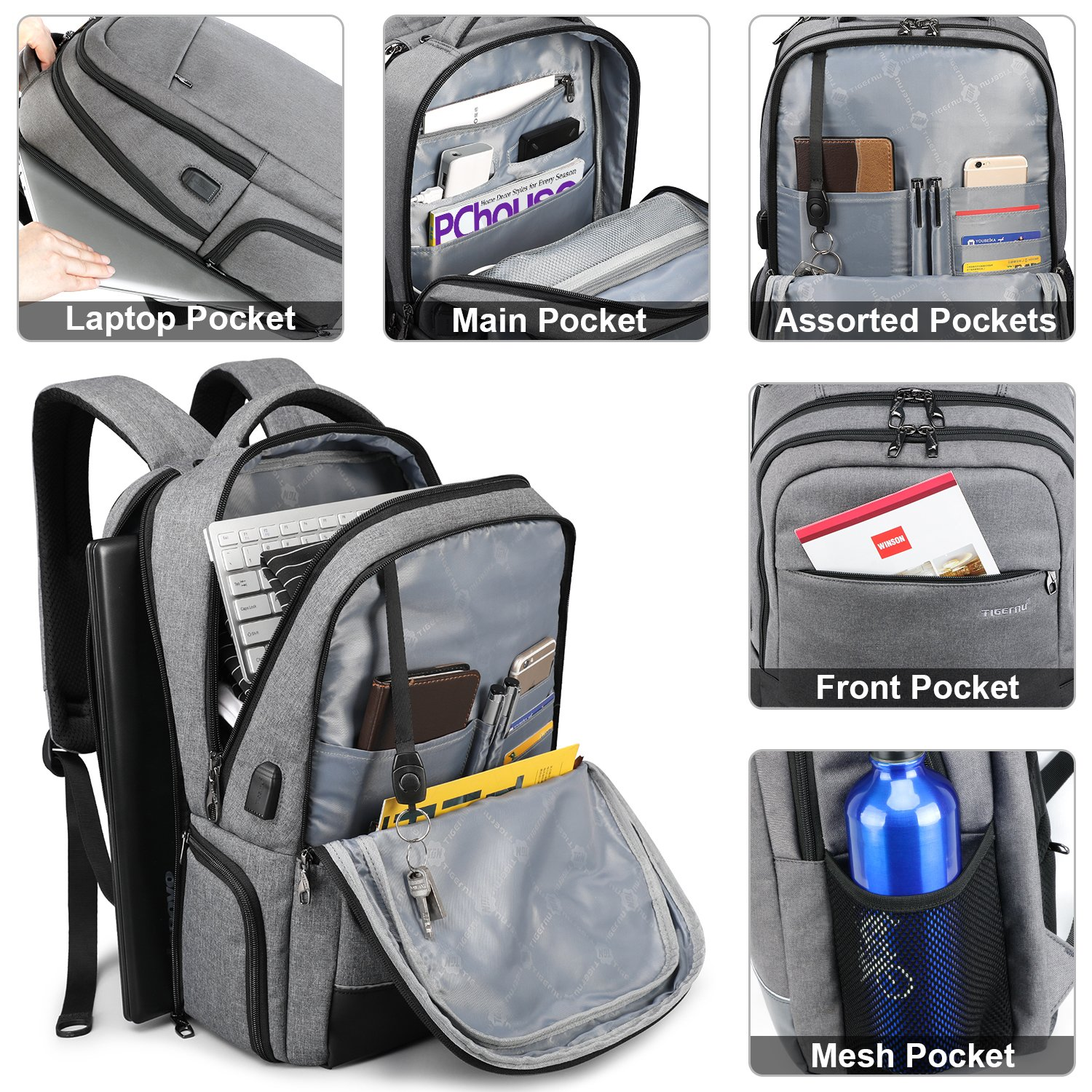 KUPRINE Business Laptop Backpack for Women Mens Water Resistant College School Laptop Slim Backpack Travel Bag Fits 15 15.6 inch Notebook Computers with USB Charging Port- Grey