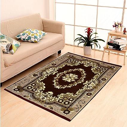 Dailz Ethnic Velvet Touch Abstract Chenille thin carpet/mat/dari- 55x80, Multicolour