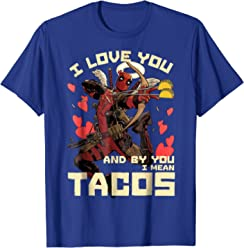 Marvel Deadpool Cupid Love For Tacos Graphic T-Shirt