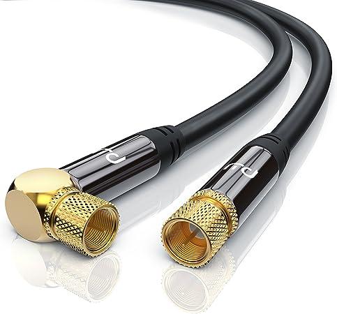 CSL-Computer 0,5m Cable de Antena Sat - En ángulo 90 Grado - Premium Cable de satélite HDTV - Cable coaxial - HDTV Full HD - Carcasa metálica ...
