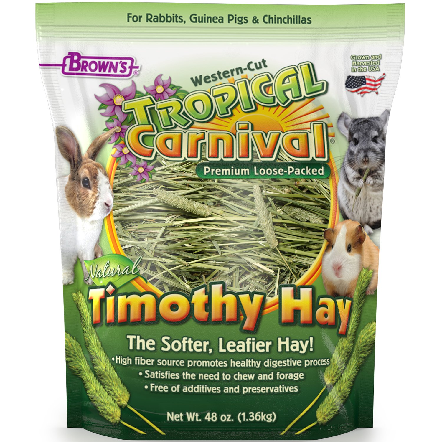 Tropical Carnival F.M. Brown's Natural Timothy Hay for Guinea Pigs, Rabbits, and Other Small Animals, with High Fiber for Healthy Digestion