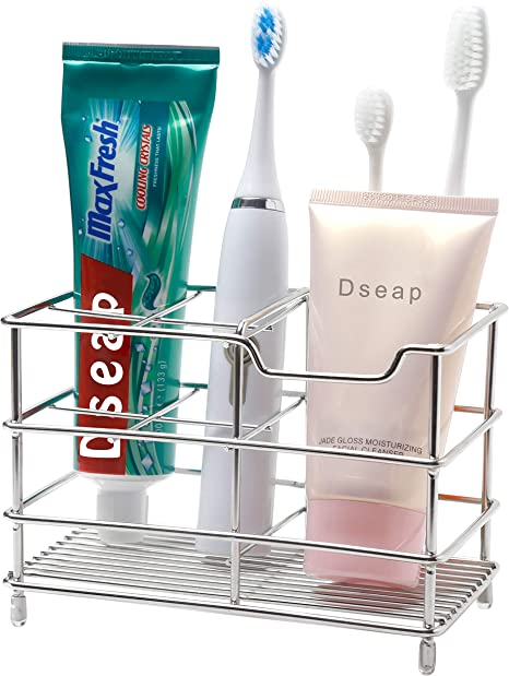 HBlife Large Stainless Steel Toothbrush Toothpaste Holder Bathroom Accessories Organizer Bonus 5Pcs Toothbrush Cover Sliver Electric Toothbrush Holder