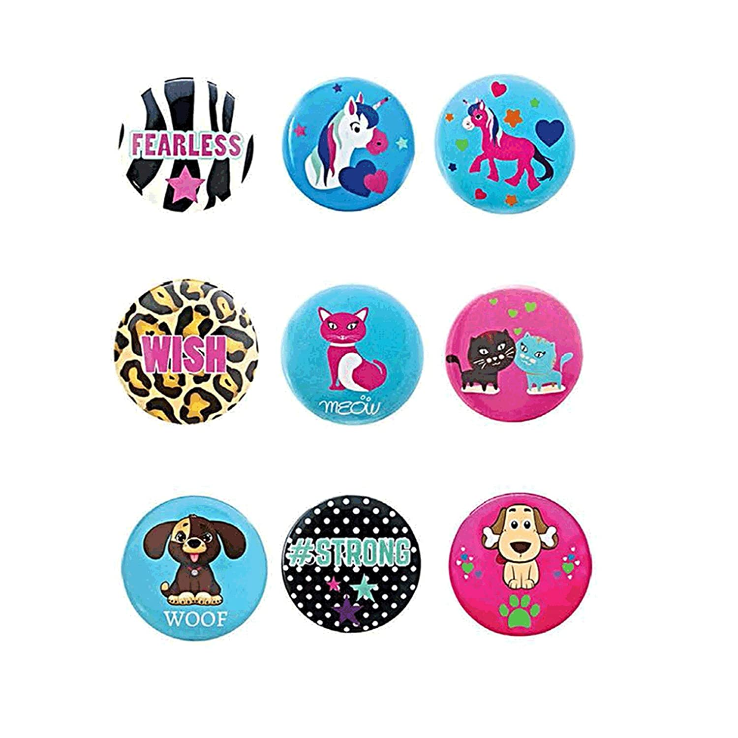 Button Pins 9 Piece Pack Assorted Designs Great Party Favors Pins for Girls Women Teens Tween Fun Accessories by Frogsac USA