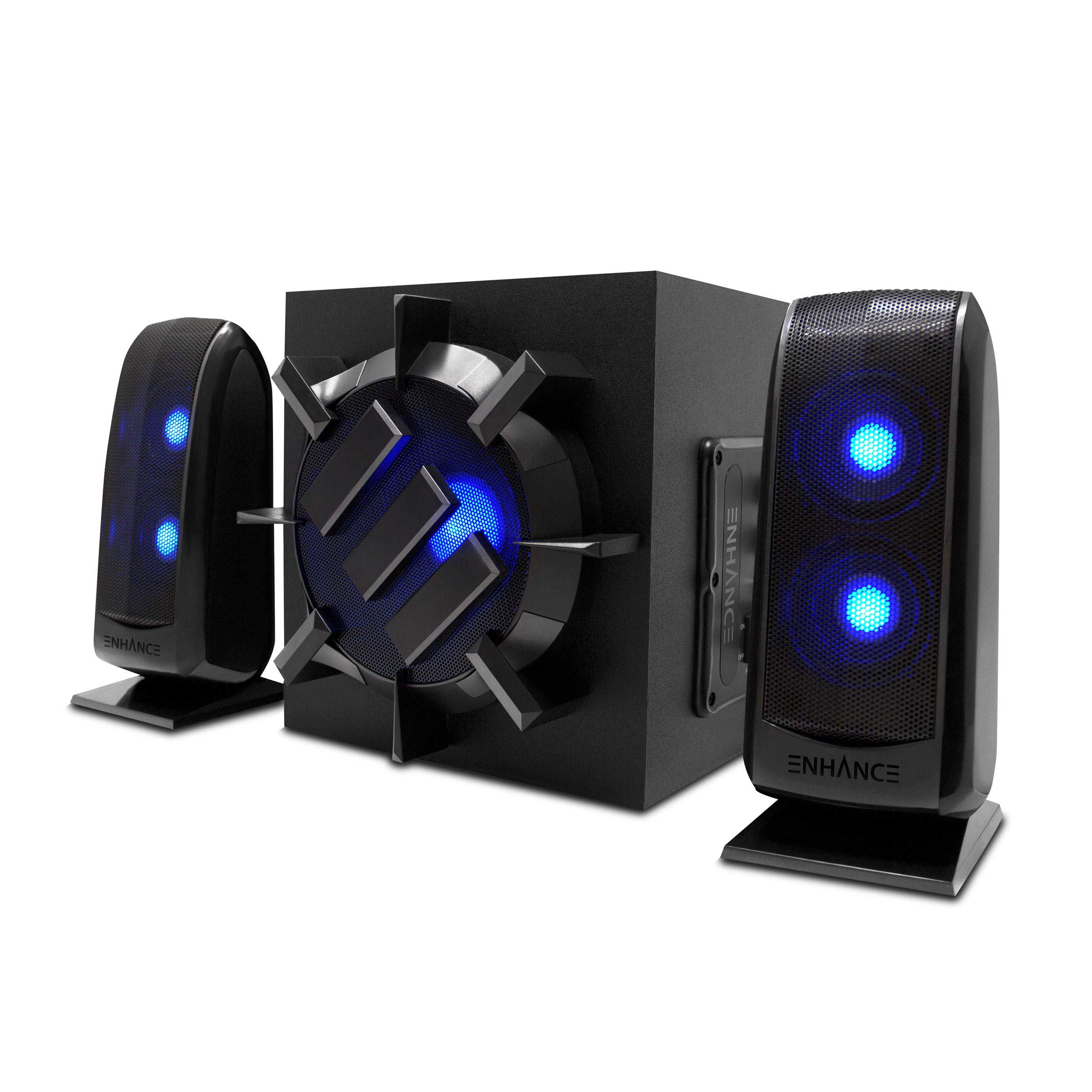 PC ENHANCE SB2 Computer Speakers with Blue LED Lighting and 2.0 USB Powered Laptop Compatible with Gaming Desktop Stereo Sound with 3.5mm Wired Plug Connection and in Line Volume Control