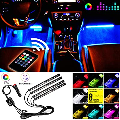 Car Interior Lights,4pcs 48 LED Multicolor LED Strip Lights for Car Under Dash Lighting Waterproof Kit with Music Sync and Wireless Remote Control Multi-Mode Change,Car Charger Included,DC 12V: Automotive