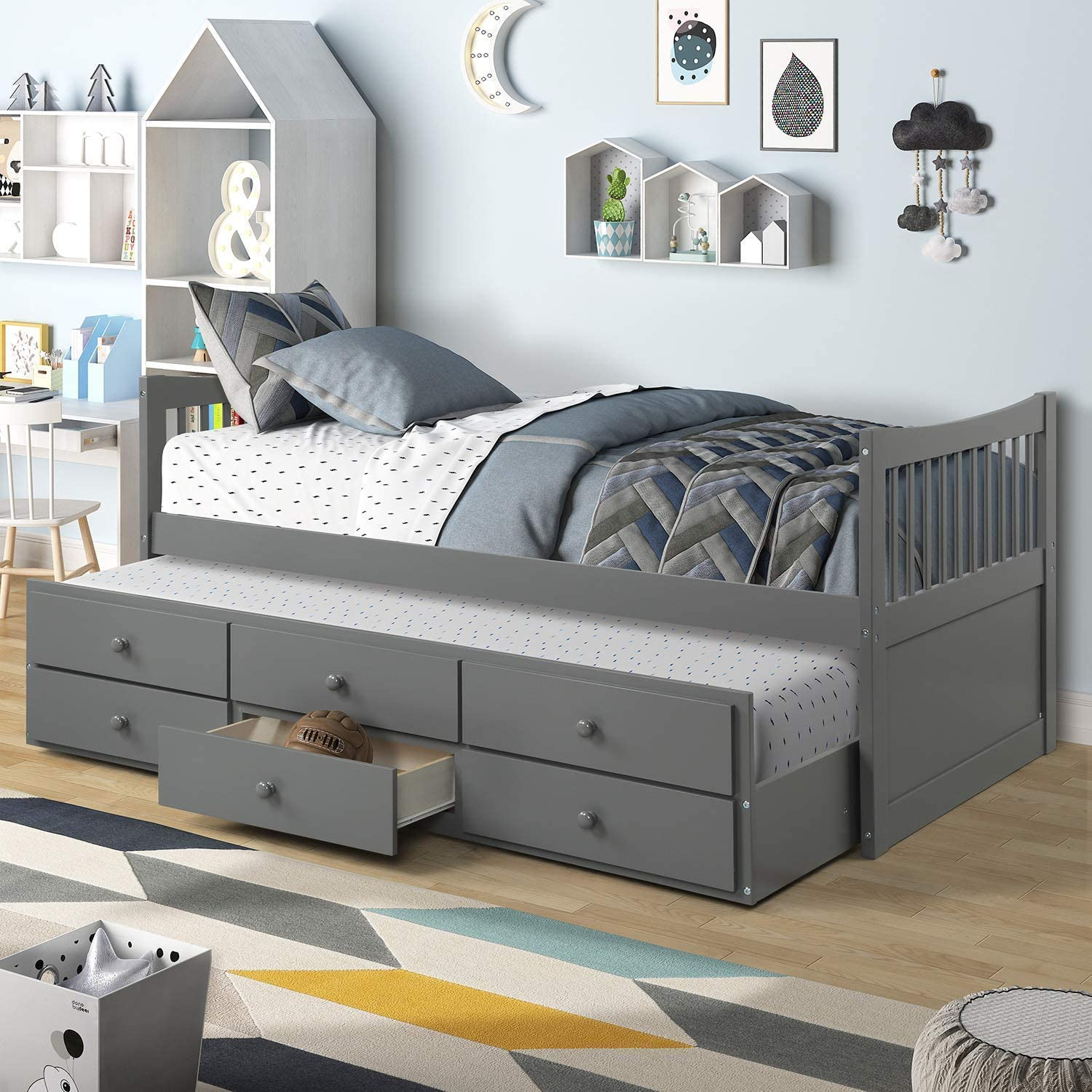 MIERES Twin Captain Bed with Trundle and Drawers, 3-in-one Solid Wood Daybed with Storage for Kids Guests, Grey-AAE