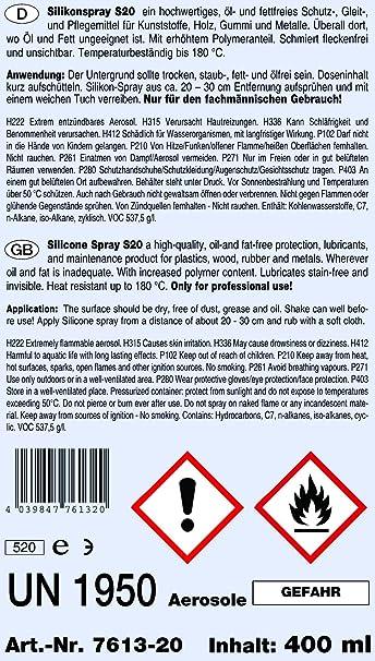 Stc Silikonspray S20 400 Ml Silikon Fettspray Silikon Spray Gummipflege Siliconspray Trennmittel Gleitspray Auto