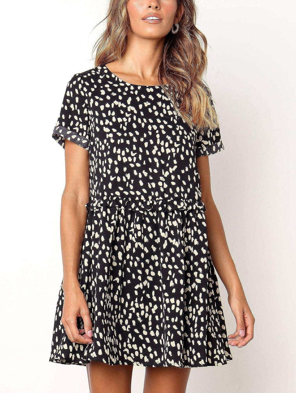 589fbbd2e6165 M MEIION Women's Chiffon Summer Sleeveless Polka Dot Ruffle Hem Swing Dress  with Pockets Black at Amazon Women's Clothing store: