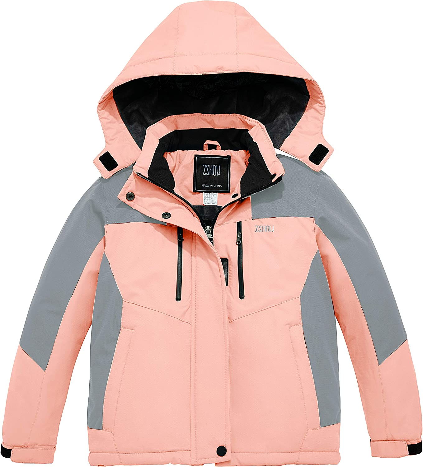 ZSHOW Girls' Waterproof Ski Jacket Warm Winter Snow Coat Fleece Raincoats