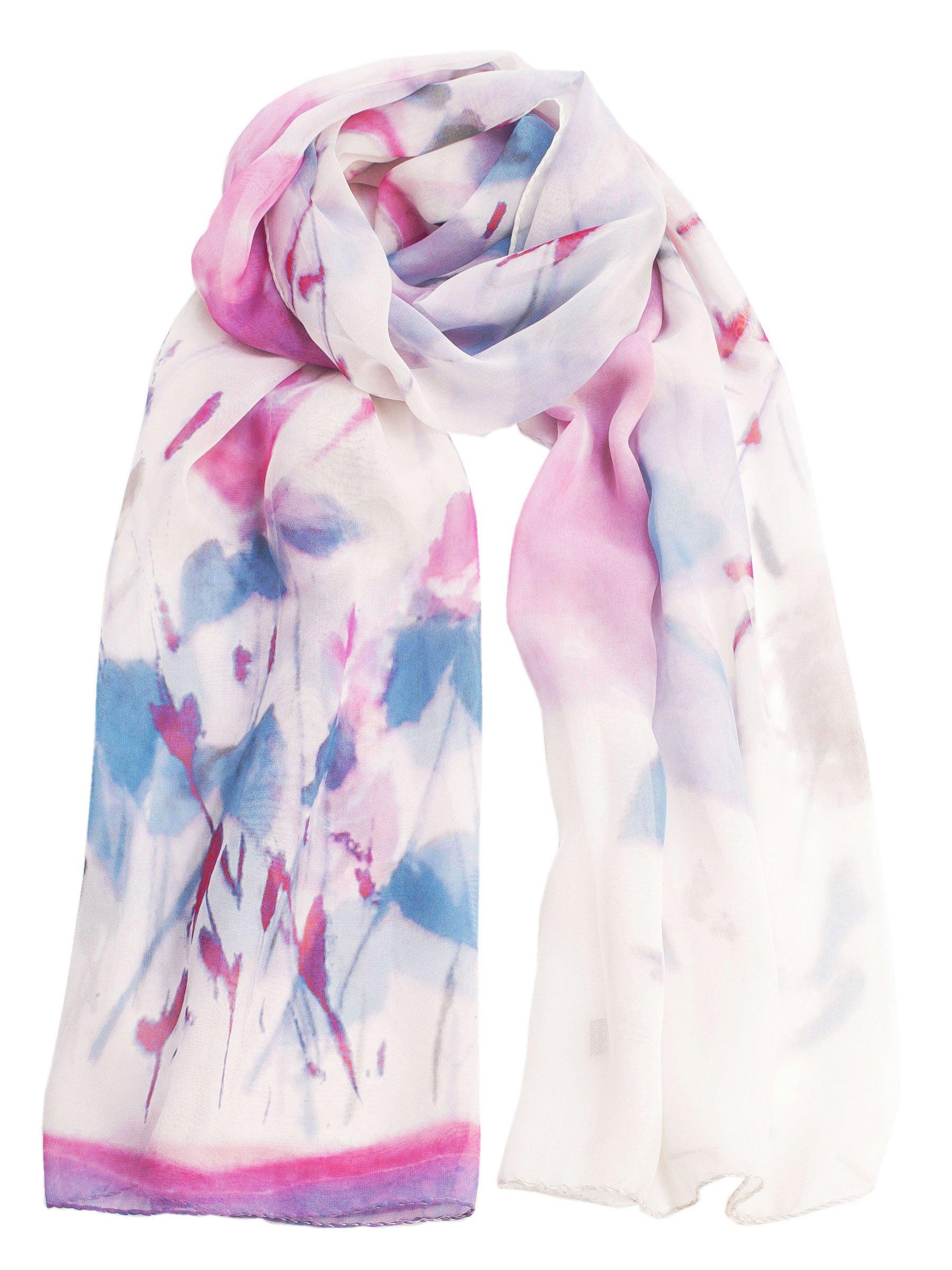 Elizabetta Italian Sheer Silk Chiffon Floral Scarf Evening Wrap, Pink & Lavender