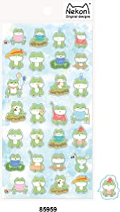 Non-Toxic Self-Adhesive Cute Frog Cartoon Label Waterproof DIY Decal Vinyl Sticker for Diary,Notebook,Mobile Phone,Photo Frame,Luggage