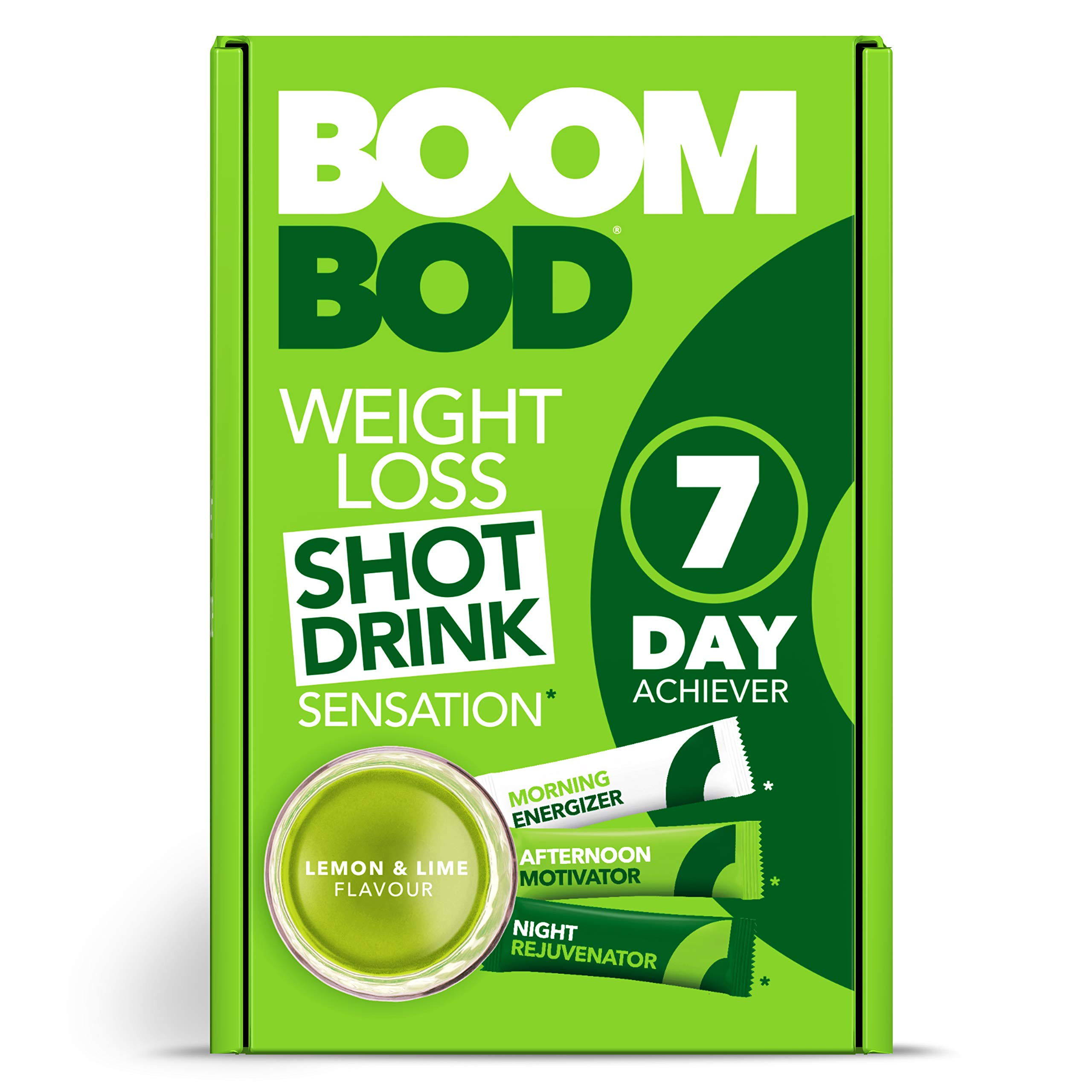Boombod Weight Loss Shot Drink, Glucomannan, High Potency, Diet and Exercise Enhancement, Promote Fat Loss, Keto and Vegan Friendly, Sugar and Aspartame Free, Gluten-Free - Lemon Lime Flavor by Boombod