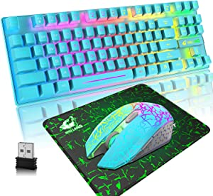 Wireless Gaming Keyboard and Mouse Combo,Rainbow Backlit Rechargeable 3800mAh Battery,87 Keys Compact Mechanical Feel Computer Keyboard,RGB Gaming Mute Mouse and Mousepad for PC Gamers (Blue)