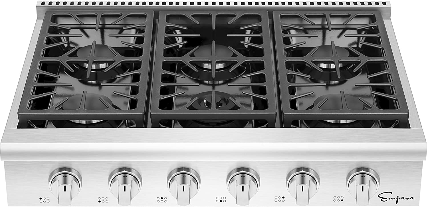 Empava 36 in. Pro-Style Professional Slide-in Natural Gas Rangetop with 6 Deep Recessed Sealed Ultra High-Low Burners-Heavy Duty Continuous Grates in Stainless Steel, 36 Inch, Silver