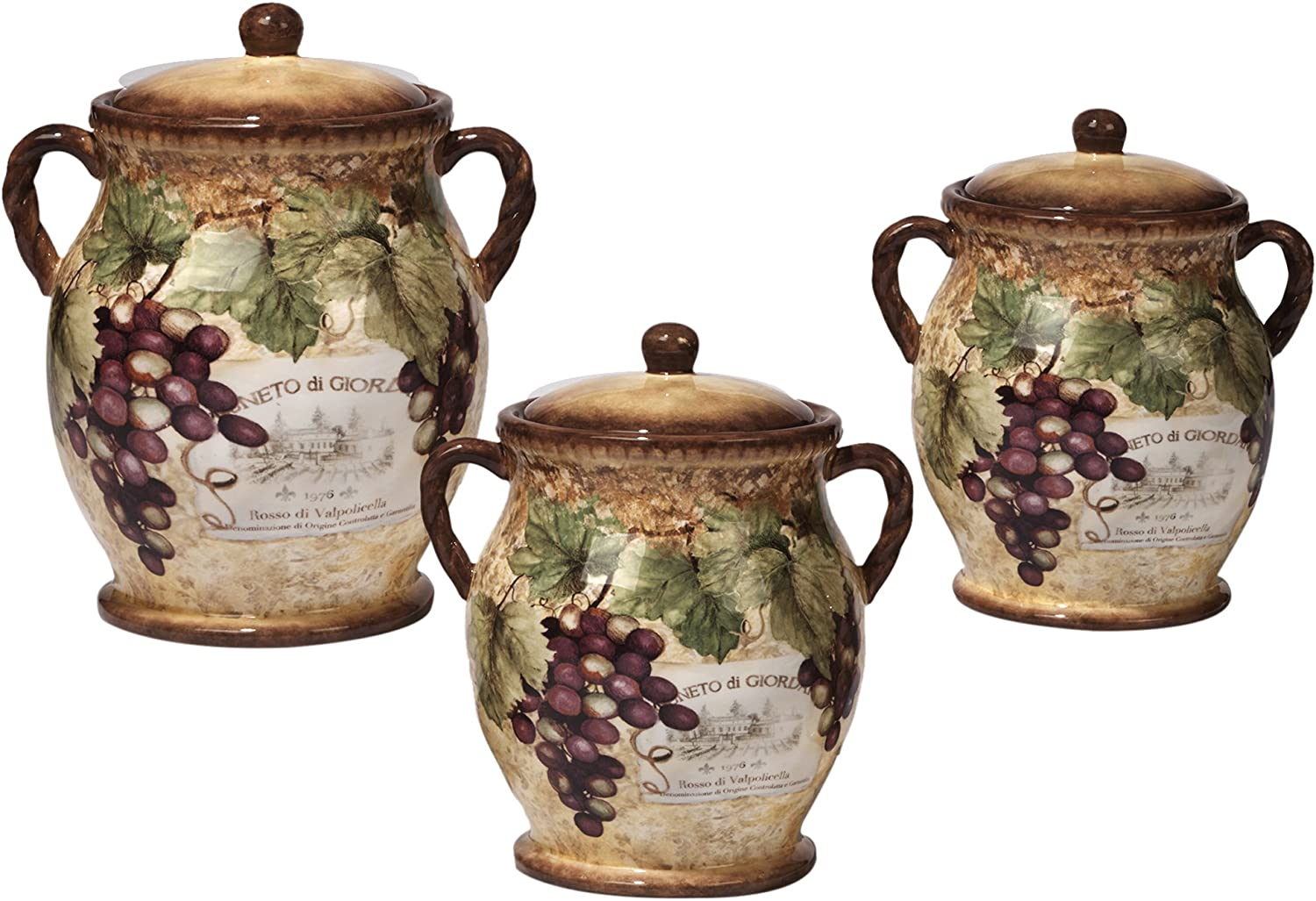 3 Piece Gilded Wine Canister Set