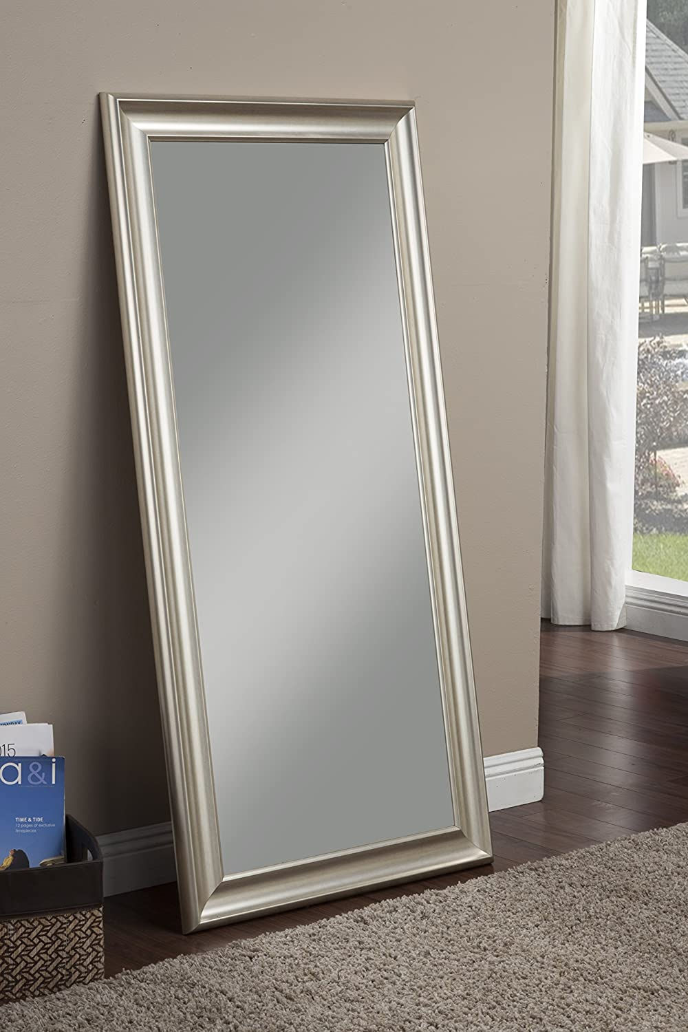 amazoncom sandberg furniture champagne silver full length leaner mirror home u0026 kitchen