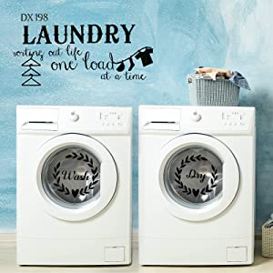 ZIIVARD Laundry Room Stickers, Vinyl Wall Decal Washer Dryer Decal Sticker Decor Wall Art Stickers Laundry Art Signs for Home Apartment Washing Machine (Black)