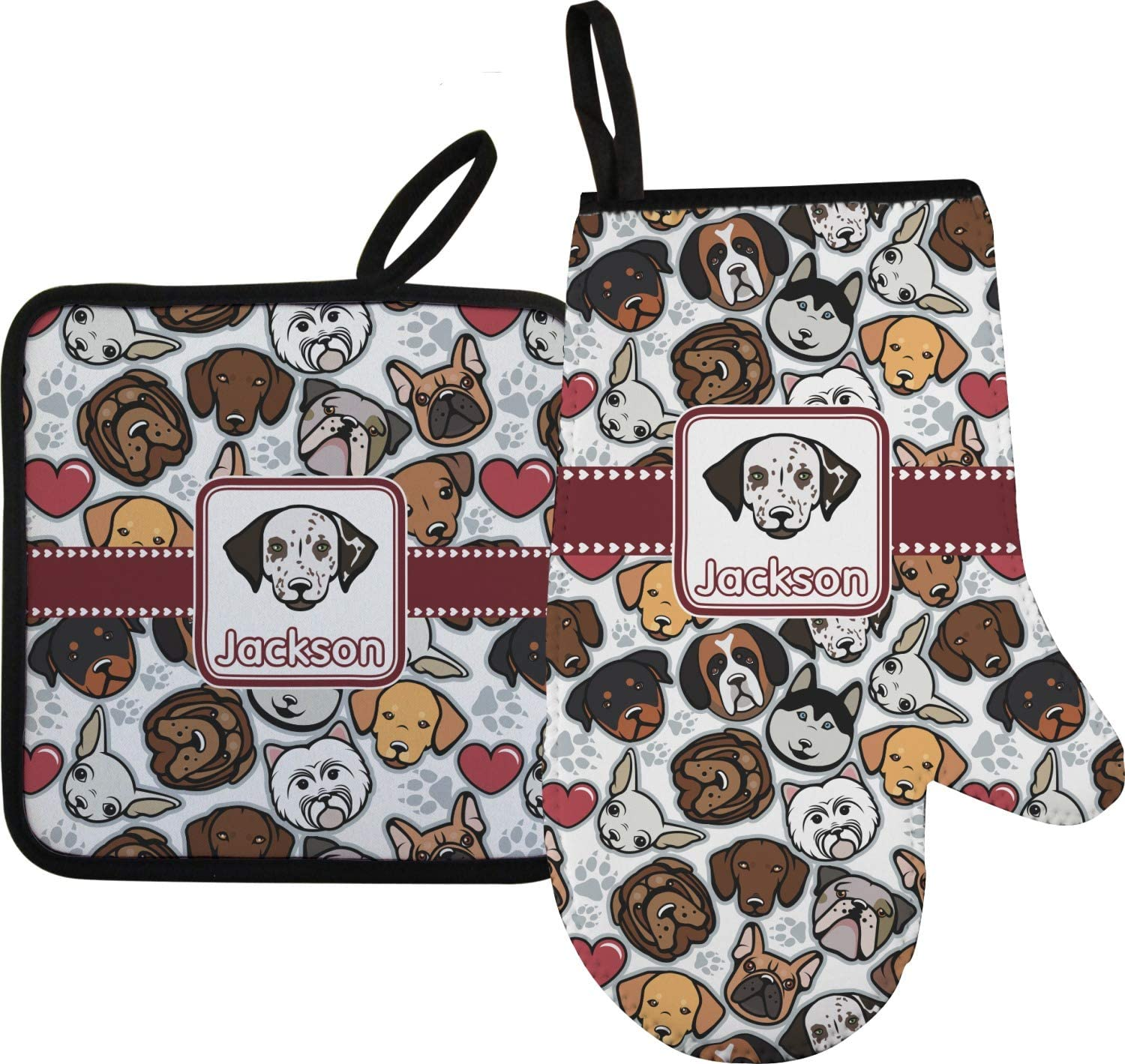 RNK Shops Dog Faces Oven Mitt & Pot Holder (Personalized)