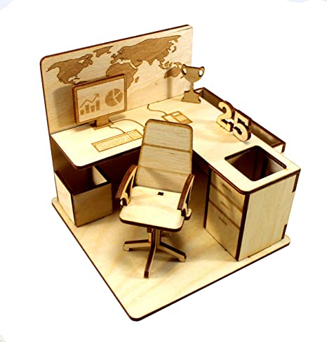 StonKraft Wooden 3D Puzzle - Office Cubicle - Desk Organizer, Pen Stand - Easy to Assemble - Ideal DIY for School Project (Wooden)