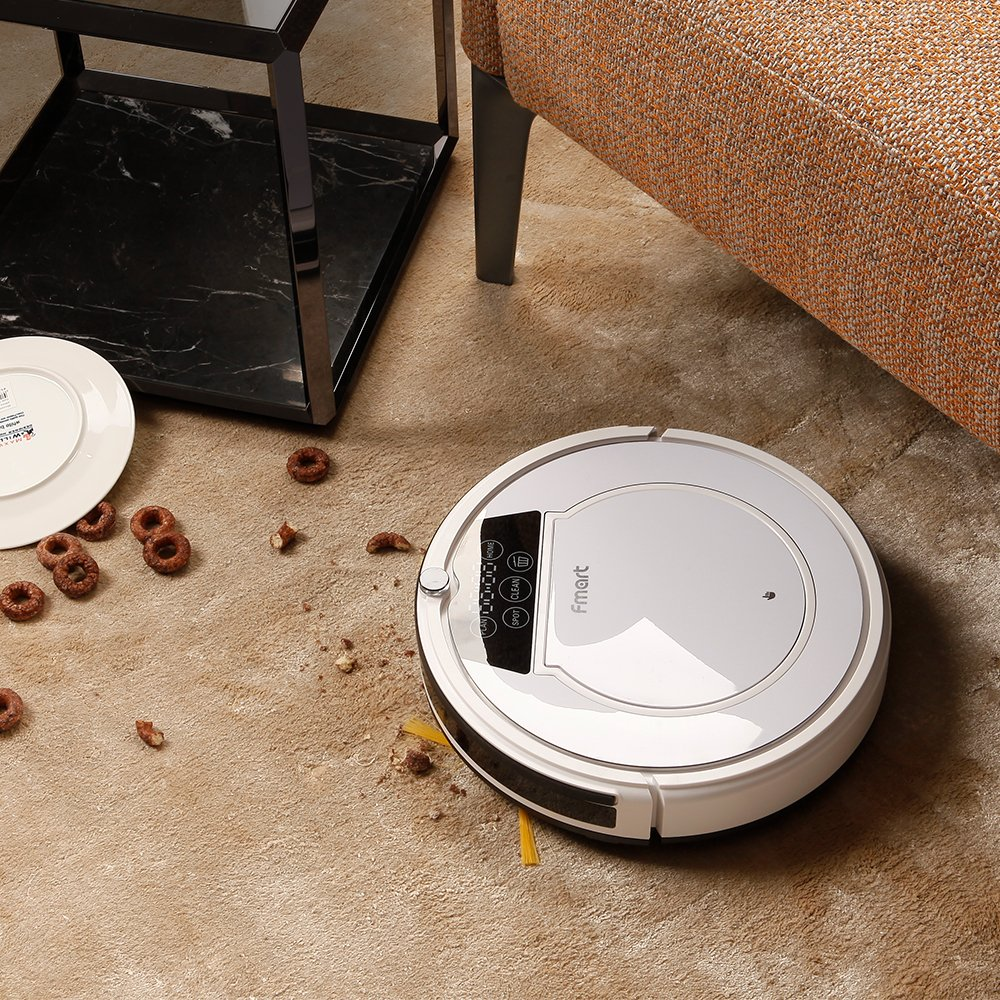Fmart FM-320 1000Pa Robot Aspirador de limpieza, carga automática, limpieza húmeda y seca, limpieza automática, limpieza de cabello de mascotas y pelo de ...