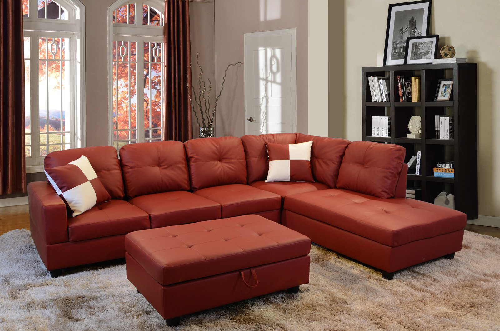 Lifestyle Furniture Right Facing 3PC Sectional Sofa Set,Faux Leather,Red(LS094B) by Lifestyle