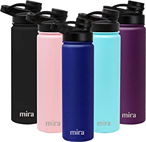 MIRA 24 oz Stainless Steel Water Bottle - Hydro Vacuum Insulated Metal Thermos Flask Keeps Cold for 24 Hours, Hot for 12 Hours - BPA-Free Spout Lid Cap - Blue