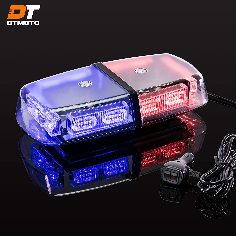 "12"" 36-Watt LED Mini Light Bar w/ 17 Modes, IP66 Waterproof and Magnetic Mount - Blue/Red Warning Strobe Light Bars for Hazard, Emergency, Snow Plow Vehicles"
