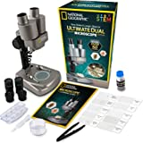 National Geographic Dual LED Student Microscope - 50+ pc Science Kit Includes Set of 10 Prepared Biological & 10 Blank Slides, Lab Shrimp Experiment, 10x-25x Optical Glass Lenses More! (Silver)