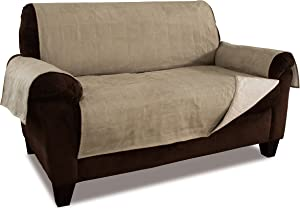 Link Shades Anti-Slip Loveseat Protector | Water Resistant Microsuede Slipcover | Stay-Put Straps | Cover Protects from Dogs & Other Pets (Loveseat, up to 50