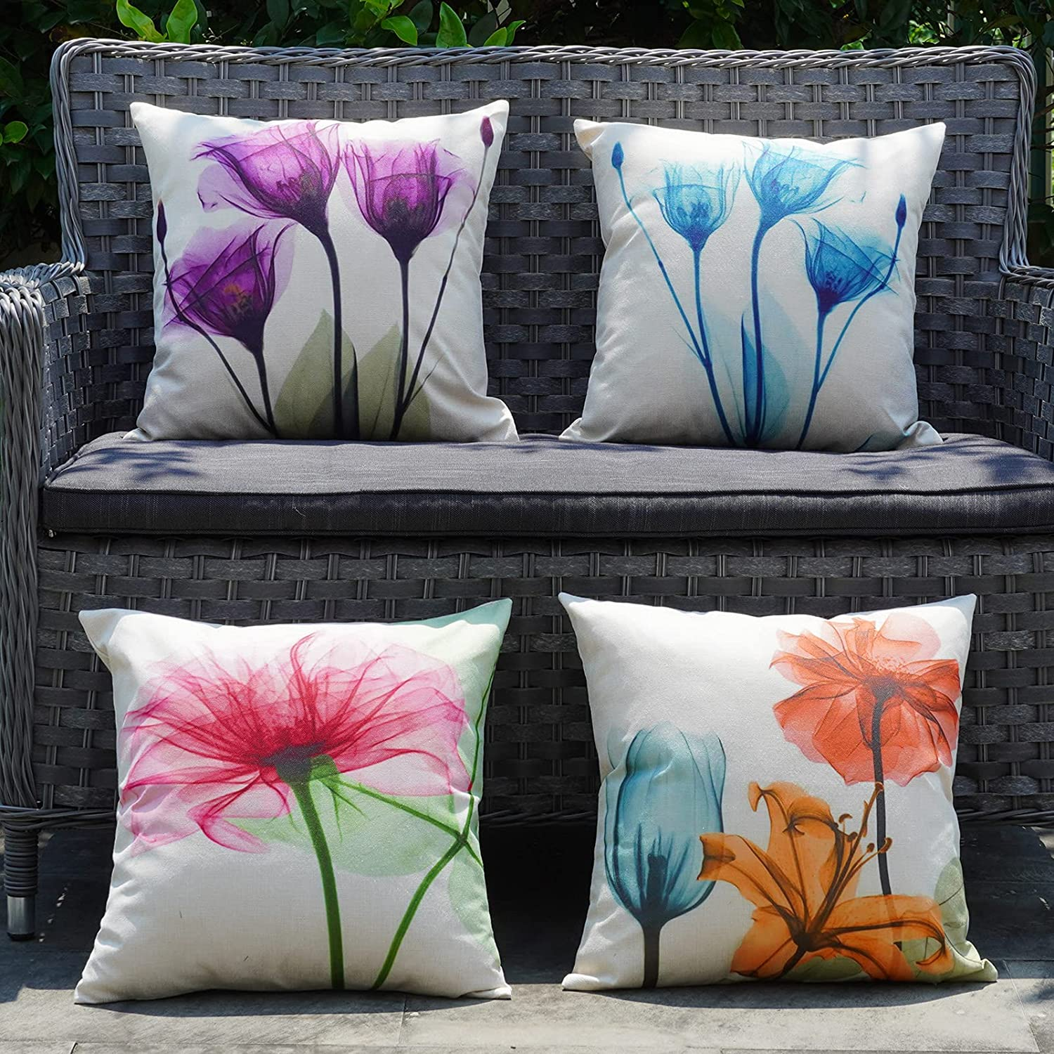 ONWAY Outdoor Pillow Covers Waterproof 18x18 Set of 4 Floral Decorative Throw Pillow Cover Spring Summer Farmhouse Pillows for Patio Furniture Couch and Sunbrella