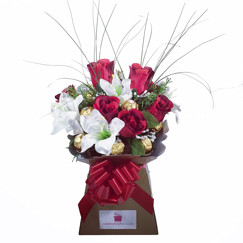 Luxury silk red roses lilies and ferrero rocher chocolate bouquet luxury silk red roses lilies and ferrero rocher chocolate bouquet amazon grocery izmirmasajfo