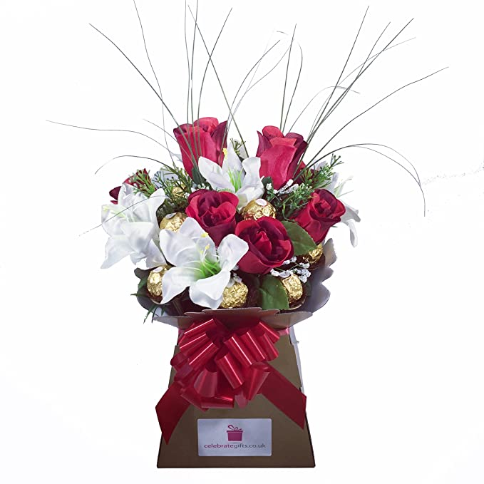 Luxury Silk Red Roses & Lilies and Ferrero Rocher Chocolate Bouquet ...