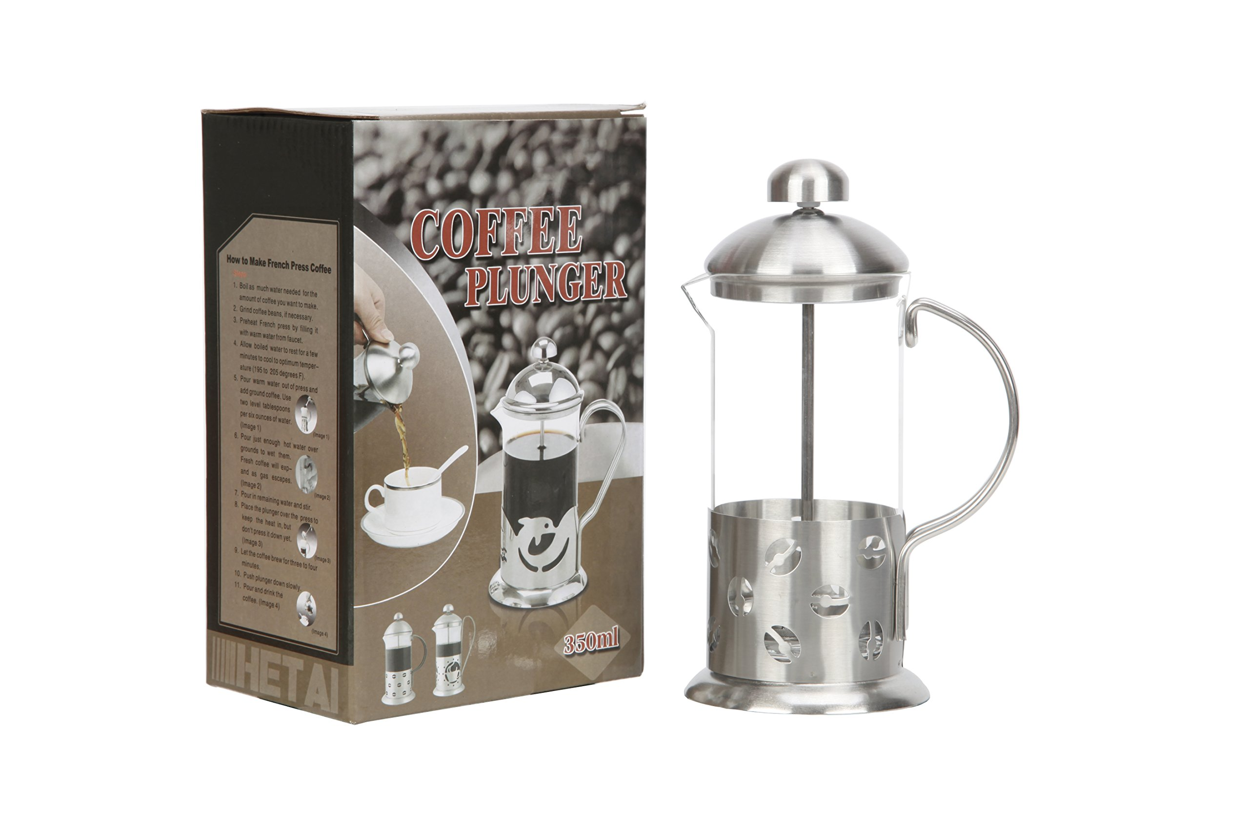 Zeroomade French Press Coffee Tea Maker Glass Stainless Steel Mini French Press Best Camping Coffee Press Pot Heat-Resistant Coffee Press 12 oz(350ML)