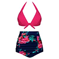 Newbely Womens Vintage Ruched High Waisted Bikini Push up Halter Beachwear