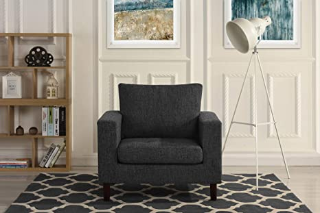 Modern Tufted Linen Fabric Armchair, Living Room Chair (Dark Grey)