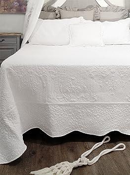 AT17 Couvre lit Boutis avec 2 Taies d'oreiller, Jeté de lit Shabby