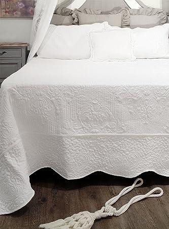 AT17 Tagesdecke Boutis Doppelbett Bettüberwurf mit 2 Kissenbezügen Landhaus  Shabby Chic - Gesteppt Blumen Boutis - 260x260 + 2 Kissenbezügen 52x82 - ...