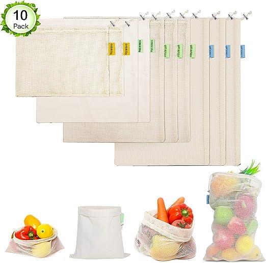 Songwin - 10 Bolsas de Algodón Reutilizables para Verduras y ...