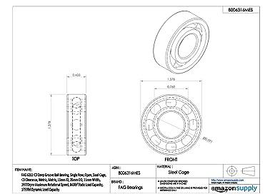 Steel Cage 47mm OD 1470lbf Static Load Capacity 2860lbf Dynamic Load Capacity Open Single Row Metric FAG 6204-C3 Deep Groove Ball Bearing 20mm ID C3 Clearance 14mm Width 18000rpm Maximum Rotational Speed
