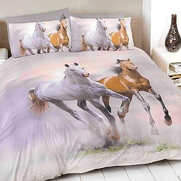 Just Contempo Bettwäsche Motiv Pferde Graucremefarbenbeigebraun