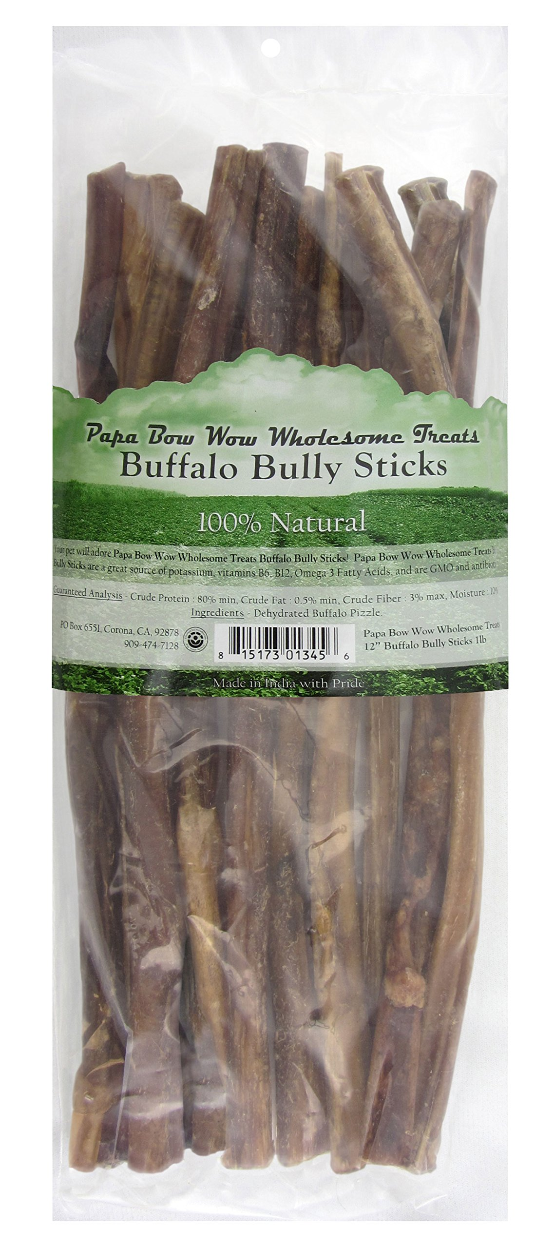 Papa Bow Wow Wholesome Treats 018666 Buffalo Bully Stix 50 PieceDog Treats, 12''