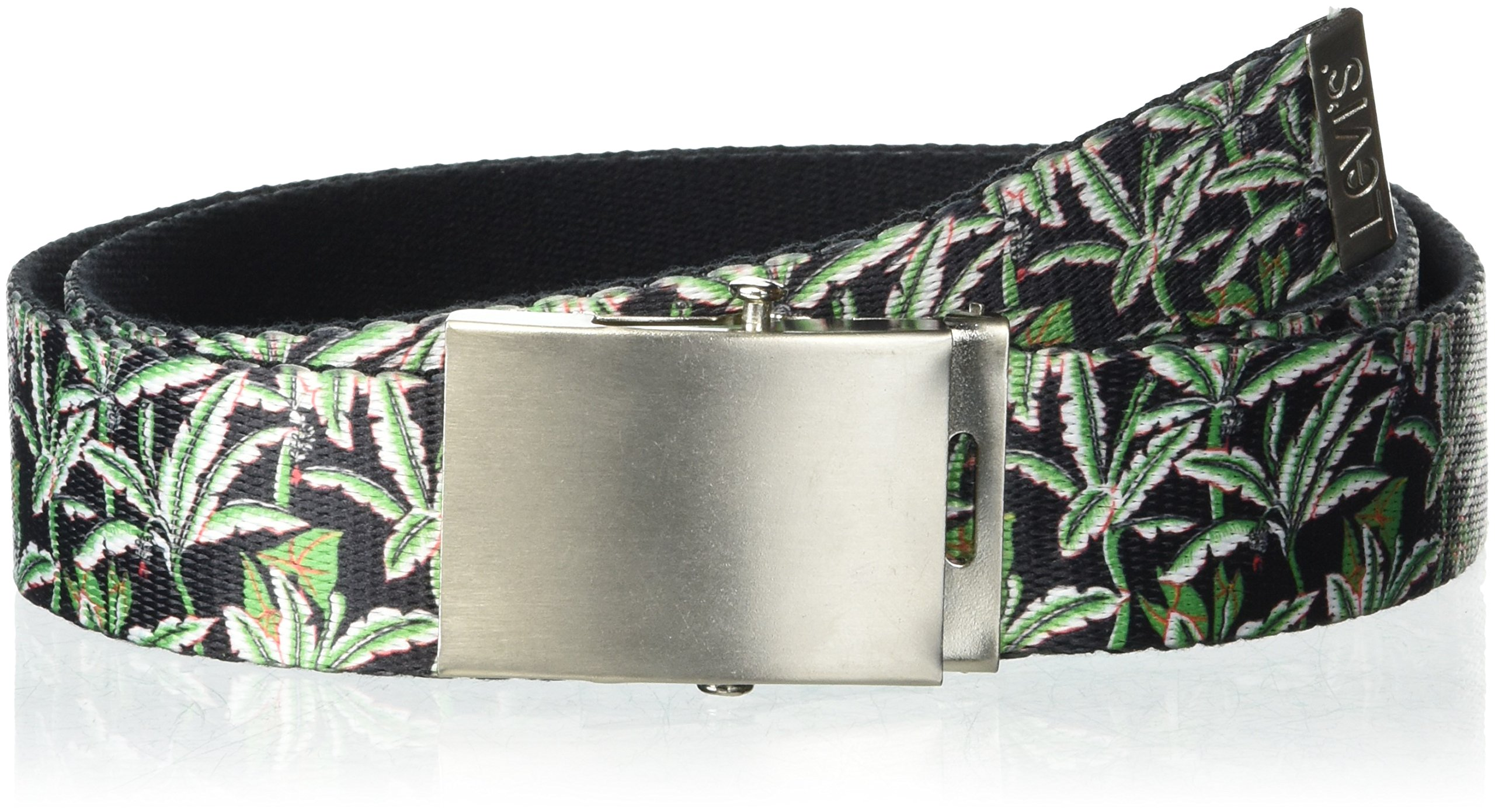 Levi's Men's Military Web Belt - Casual for Jeans Adjustable One sizee Cotton Strap and Metal Plaque Buckle-Black/Green, 1size