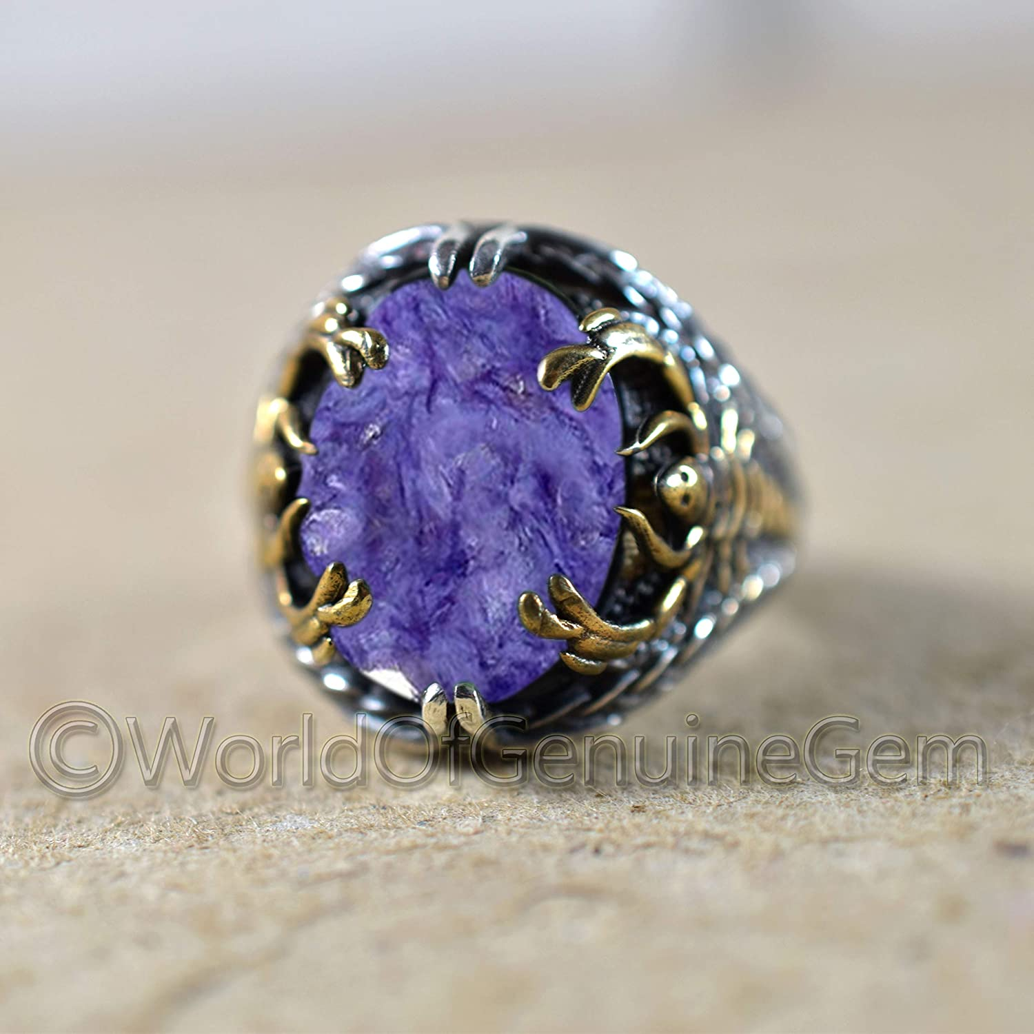 Scorpion Design Jewelry Statement Ring Oval Charoite Stone Ring Bachelor Party Jewelry Two Tone Mens Ring Solid 925 Sterling Silver Ring Natural Charoite Gemstone Jewelry Protection Ring