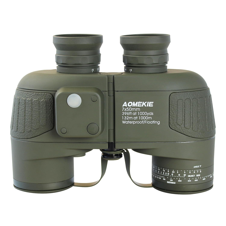 Aomekie AO3002 7X50 高解像度 ミリタリー マリン 双眼鏡 照光式 レンジファインダー コンパス BAK4 ポロプリズム フローティング 防水/曇止め 窒素充填 ブラック B073VDQSN5 アーミーグリーン アーミーグリーン